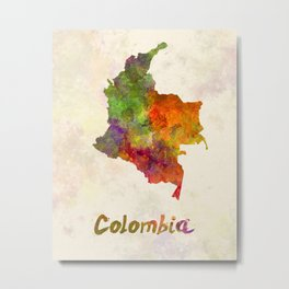 Colombia in watercolor Metal Print
