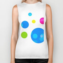 Colorful Bold Bubble Design Biker Tank