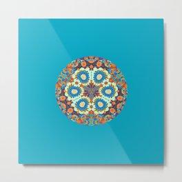 Turquoise Teal Minimalist Floral Mandala Metal Print