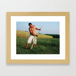 Farmer in Fields Framed Art Print