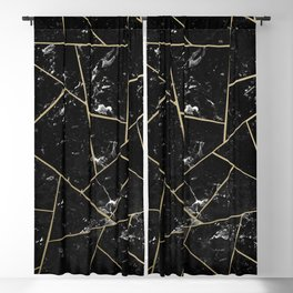 Black Marble Gold Geometric Glam #1 #geo #decor #art #society6 Blackout Curtain