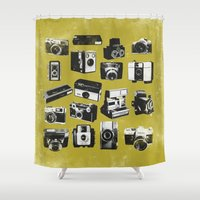 cameras Shower Curtains featuring Cameras by ELCORINTIO