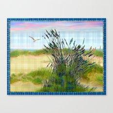 Plaid Beachscape with Seagrass Canvas Print
