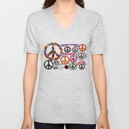 Flower Power Peace Signs Coctail Unisex V-Neck