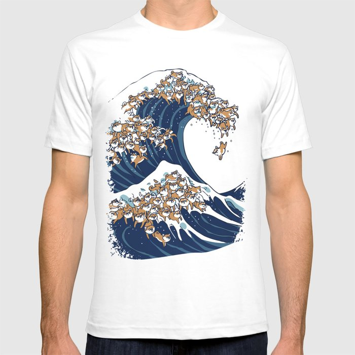 Beliebt Bevorzugt The Great Wave of Shiba Inu T-shirt by huebucket | Society6 &OB_69