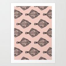 Pink flatfish pattern Art Print