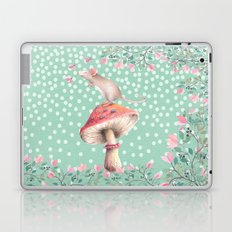 Beautiful Mouse on mushroom with pink flowers on dots Laptop & iPad Skin
