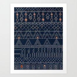 N53 - Blue Indigo Oriental Antique Traditional Moroccan Style Artwork Art Print