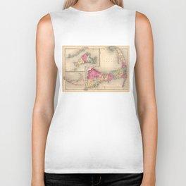 Cape Cod, Martha's Vineyard & Nantucket Map (1871) Biker Tank