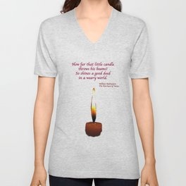 Shakespeare Candle Flame Unisex V-Neck