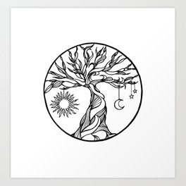 black and white tree of life with hanging sun, moon and stars I Art Print