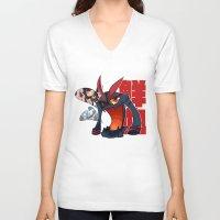 kill la kill V-neck T-shirts featuring Kill la Kill Kamui Senketsu by LuluPiccasa