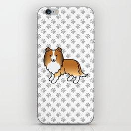 Sable Shetland Sheepdog Dog Cartoon Illustration iPhone Skin