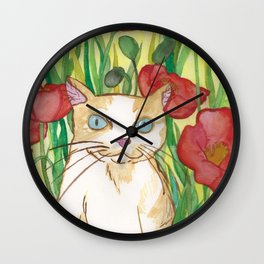 Cat Between The Poppies Wall Clock