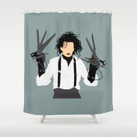 edward scissorhands Shower Curtains featuring edward scissorhands by Live It Up