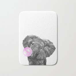 Bubble Gum Elephant Black and White Bath Mat
