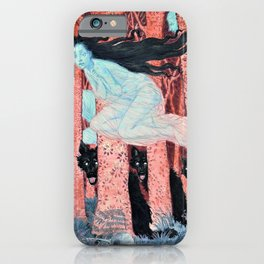Eugene Grasset - Three women and three wolves - Digital Remastered Edition iPhone Case