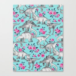 Dinosaurs and Roses - turquoise blue Canvas Print