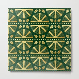 Emerald & Gold Art Deco Fan Metal Print