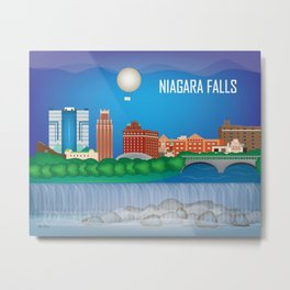 Niagara Falls, New York - Skyline Illustration by Loose Petals Metal Print