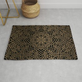 Black Gold Mandala Rug