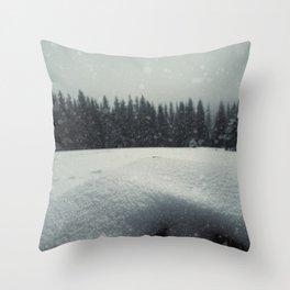 fence snow Throw Pillow