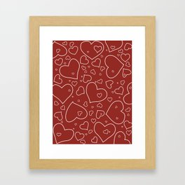 Red and White Hand Drawn Hearts Pattern Framed Art Print