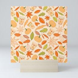 Pumpkin Spice Season Latte and Fall Leaves Pattern Mini Art Print