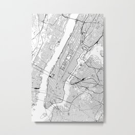 New York City White Map Metal Print