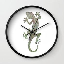 green leaf gecko silhouette Wall Clock
