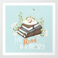 Eat, Read & Be Merry - Globe Art Print