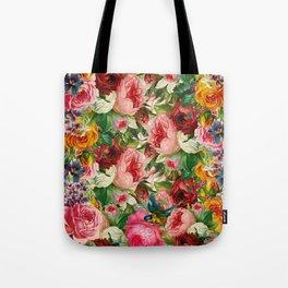 Colorful Floral Pattern | Je t'aime encore Tote Bag