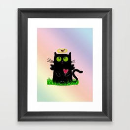 angel cat and ladybug Framed Art Print