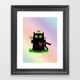 angel cat and ladybug Framed Art Print