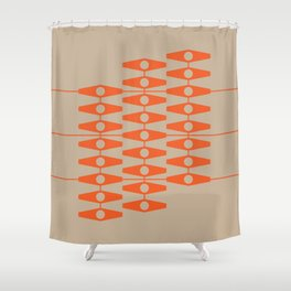 abstract eyes pattern orange tan Shower Curtain