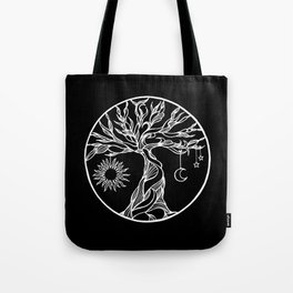 black and white tree of life with hanging sun, moon and stars II Tote Bag