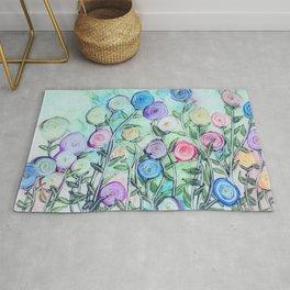 Colorful Garden Abstract Art Rug