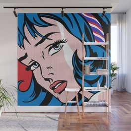 Girl with Hair Ribbon03++BlueHair3_flipped Wall Mural