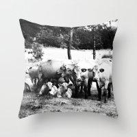 cows Throw Pillows featuring Cows by koya noya