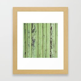 Rustic mint green grunge wood panels Framed Art Print