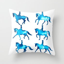 Turquoise Dressage Horse Silhouettes Throw Pillow