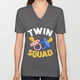 Cute & Funny Twin Squad Twinning Baby Pacifiers Unisex V-Neck