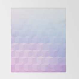 Pastel Cube Pattern Ombre 1 - pink, blue and vi Throw Blanket