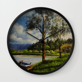 The Lake No.2, Landscape Painting-Oil on Canvas-Original Art-Impressionism-Impasto-Realistic Wall Clock