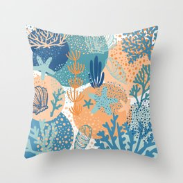 Coral Sea Shell Ocean Life Beach Pattern in Blue Teal Turquoise and Orange Throw Pillow