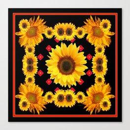 Black Western Blanket Style Sunflowers Canvas Print