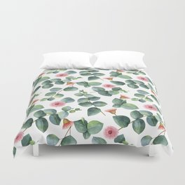 Eucaliptus and pink flowers pattern Duvet Cover