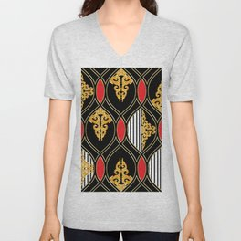 Vintage pattern with Luxury Baroque hand drawn illustration pattnern, dark background. Retro abstract geometric design, elegent, luxury Unisex V-Neck