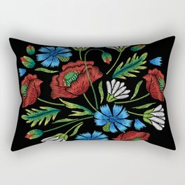 Embroidered Flowers on Black Circle 02 Rectangular Pillow