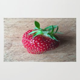 Lone Strawberry on the Cutting Board Rug